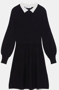 Zara Black Dress With Contrasting Collar